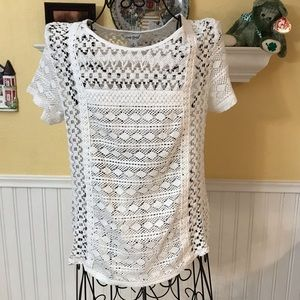 Lucky Brand White Top with lace detail Sz S